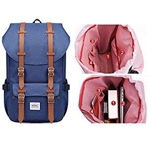 fdca3441ae Rucksack Damen Herren Schulrucksack KAUKKO 17 Zoll Laptop Backpack für 15″  Notebook Lässiger Daypacks Schultaschen of 2 Side Pockets für Wandern  Reisen ...